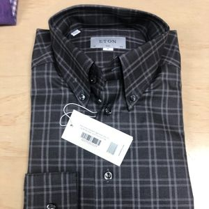 Eton Slim Fit Grey Check Button Down